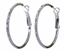 "Swarovski Elements Crystal 1 3/8"" Hoop Pierced Earrings Rhodium Plated 7219y"