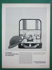 10/1963 PUB LUFTHANSA GERMAN AIRLINE AIRLINER STEWARDESS VALISE FRENCH AD