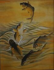Beautiful Large Japanese 5 Dancing Carp Koi Fish Hand Painting