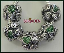 5 Green Heart w/ Childrens Smiles Spacer for Charm Bracelet or Necklace S129