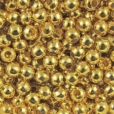 200pcs 3mm Gold Metal Round Spacer Beads Jewelry Fingding Craft DIY Charms C