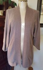 CYNTHIA ROWLEY 100% Cashmere Taupe Brown Kimono Style Open Drape Cardigan - sz M