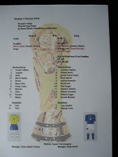 1994 World Cup Final Brazil v Italy Matchsheet