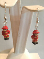 HANDMADE CERAMIC 3D FIREMAN EARRINGS W/BEAD ACCENT 925 STERLING SILVER-FREE SHIP