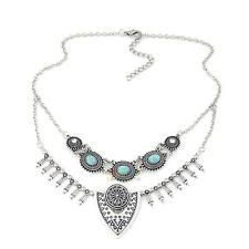 H3E# Retro Ethnic Gypsy Bohemian Tribal Boho Turquoise Statement Necklace Pe