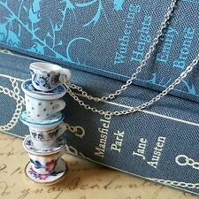 aLiCe MISMATCHED CHINA FOUR 4 BLUE PURPLE FLOWER TEA CUPS STACK SILVER NECKLACE