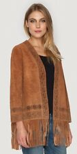 NWT $462 Johnny Was L Suede Fringe Jacket Brown
