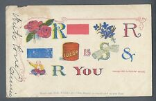 "Vintage Postcard ""Roses are Red Violets are Blue..."" Posted 1907"