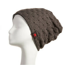 Mens Womens Winter Skull Knitted Wool Reversible Baggy Cap Slouch Beanie Ski Hat