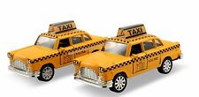 """Set of 2 diecast 4.75"""" model toy New York 1960s classic checker yellow taxi #142"""