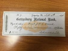 Gettysburg Physician J.W. C. O'Neal Signed Check Gettysburg National Bank 1875