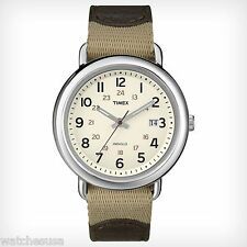 Timex Men's T2N782AB Weekender Sport Leather & Nylon Strap Watch