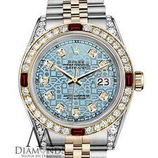 Ladies Rolex Steel & Gold 26mm Datejust Watch Jubilee IceBlue Dial Ruby Diamond