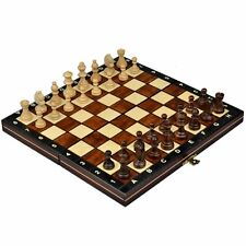 New Magnetic Board Wooden Tournament Travel Portable Chess Set Medium Game...