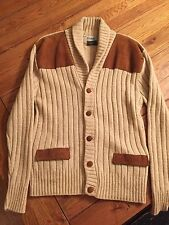 EUC + VTG Cardigan ShawL Sweater Edgeworth Rockabilly Wool Suede Tan Men's M