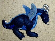 "MANHATTAN TOY JADE BLUE PLUSH DRAGON TEAL METALLIC SILVER HORNS 14""L X 10""H"