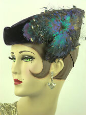 VINTAGE HAT 1930s FRENCH,BERNIER SOEURS, DEEP PURPLE VELVET HAT w FINE FEATHERS