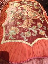 Vintage Coral Velvet Silk Embroidered Cushion Pillow