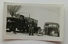 Original Black & White Photo Vintage Car & Truck 1948 ?