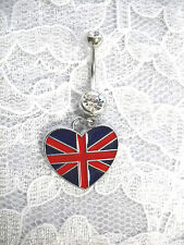 NEW HEART SHAPED BRITISH FLAG ON DAZZLING CLEAR CZ BELLY BUTTON RING BELLY BAR