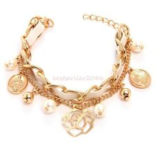 Gold Tone Hollow-out Flower Beads Bracelet Charms Dangle Chain Women Ladies Gift