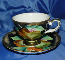Rare Vintage Stafford Richard Japan Tea Cup and Saucer Gold Gilted Black Pears