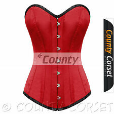 Full Steel Boned Long Torso Overbust Bustier Back Lacing Red Satin Corset Korset