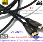 2x 4K Premium 6FT HDMI Cable 1080P HD Gold Plated 3D Hi-Speed 4K Audio Ethernet
