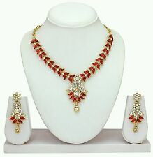 Designer Antique Gold Plated Diamond & kundan Necklace Earring  Jewellery Set
