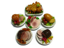 Set of 6 Thanksgiving Food XMAS Ham Turkey Dollhouse Miniatures Dinner (2.50 cm)