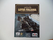 advertising Pubblicità 1978 LOTUS 78 MK3 JPS POLISTIL