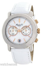 Kenneth Cole Womens Mother of Pearl Dial White Leather Band KC2688