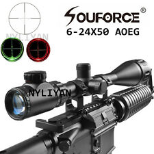 US Illuminated 6-24X50AOEG Mil-dot Optics Lens Rifle Scope 20mm Rail Mounts