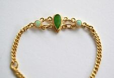 "Chinese Export 22K Gold Apple JADEITE Opals BABY BRACELET 4 3/4"" Adjusts to 4"""
