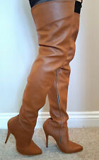 SEXY TAN MATT LEATHER Extra Lunghezza Coscia Lunghezza Stivali con cerniera interna UK9 EU 42