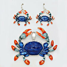 Crab Pendant Earrings SET Metal Beaded Enamel BLUE ORANGE SILVER Beach Jewelry