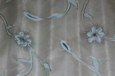 "White 100% Silk Fabric Organza w/ Blue Hand-Painted Embroidery, 44"" W (EB-260A)"