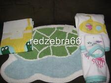 Pottery Barn Kids Aqua Submarine Bath Towels Mat/Rug Shower Curtain 5pc Set Girl
