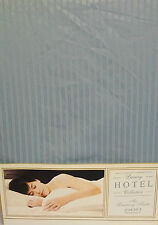 """DOUBLE BED FITTED SHEET STRIPE DUCK EGG BLUE 14"""" 600 THREAD COUNT 100% COTTON"""