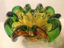 Heavy Murano Chalet cased Glass Green/Amber Bowl with folded edges