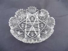 ABP Brilliant Cut Glass Crystal Dish Maple City T.B. Clark Co. Signed Fan & Star