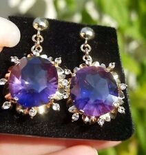 Stunning Vintage Amethyst Single Cut Diamond Dangle/Drop 14k yg earrings