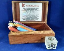 Candle Magick Box Set 11 candles Frosted Chakra holder altar box Karma Keepers