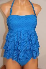 Island Escape Swimsuit Tankini 2pc Set Sz 12 Blue Crochet Ruffle Classic Pants