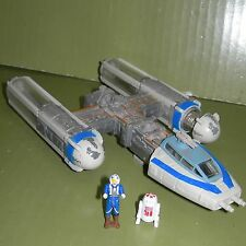 Star Wars MICRO MACHINES Action Fleet BLUE Y-WING Fighter w/ Pilot R2 Figures