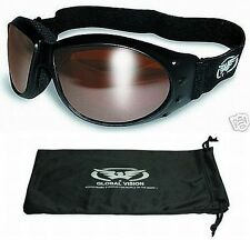 Motorcycle Riding Padded Goggles-DRIVING MIRROR Copper Bronze Lenses-Burning Man