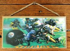 Steelers Players in Action Wood Sign Pittsburgh Fans Football Sports Made USA