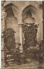 Cumbria Postcard - Cartmel Priory Church - Ancient Chairs   W545
