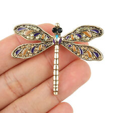 Dragonfly Insect Brooch Pin Rhinestone Crystal Topaz Brown Vintage Style Retro