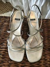 Stuart Weitzman silver low heel strappy sandals, leather, size 9